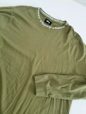 VINTAGE Stussy  Long Sleeve Shirt W/ Stussy COLLAR Spellout on Neck Sz XL GREEN