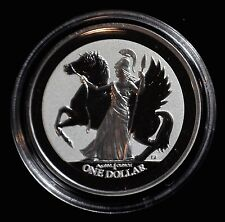 2017 BRITISH VIRGIN ISLANDS 1 OZ. SILVER PEGASUS REVERSE PROOF COIN ATHENA HORSE