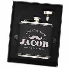 Personalized Leather Flask Set With Funnel - Groom Drinking Gift, Bachelor Party