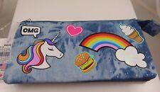 Unicorn ice cream rainbow denim pencil case , pouch , makeup bag