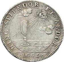 O4143 RARE R2 Jeton Marie Thérèse D'autriche 1669 Fille Henri IV Argent SUP
