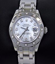 Rolex Masterpiece Pearlmaster 80319 18K W Gold Diamond Bezel MOP Dial Box papers