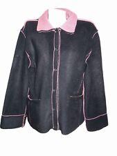 Women's Vtg Forest Walk Fleece Polar Farm Soft Warm Black Jacket Coat sz XL X83