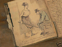carnet chant dessin érotique original 1er spahis zouave/colonial/patriotisme XIX