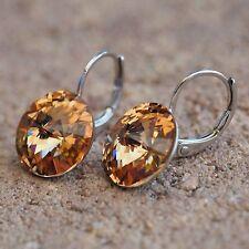 NEW Earrings 12mm Swarovski Stones Light Colorado Topaz/Light-Brown Earrings
