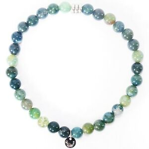 TATEOSSIAN Mens Moss Agate Beaded Bracelet £125 RRP Green Round Beads NEW IN BOX