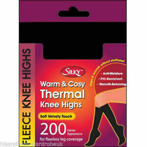 Black 200 Denier Knee High Pop socks FLEECE LINE  opaque School Girl