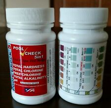 5 in 1 Pool Spa Water Test strips Free & Total Chlorine Bromine 100 TESTS 5 way