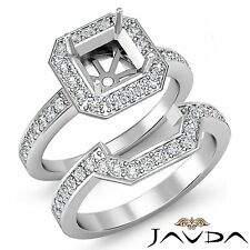 Diamond Engagement Halo Ring Asscher Bridal Sets Platinum 950 Setting 1.4Ct