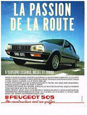 PUBLICITE ADVERTISING  1988 PEUGEOT 505 GTI  LA PASSION DE LA ROUTE