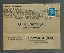 1930 Leipzig Germany Cover Judaica Duval & Silbermann to Boston MA Wool Commison