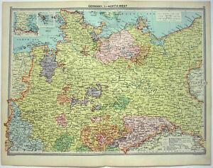 Northwestern Germany - Original 1926 Map by George Philip & Son. Vintage