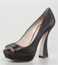 MIU MIU by Prada Black Crackled Leather Peep Toe Platform Pump Heel Shoe 41 NIB