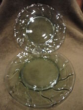 Fostoria Jamestown Green Depression Glass Plate Swirl (2)Pair 8 in Wide Vintage