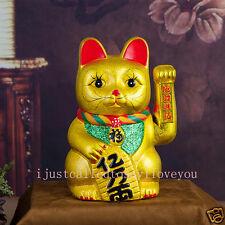 "Feng Shui 8"" (21cm) Waving Cat GOLD Ceramics Maneki Neko Lucky Wealth Prosperity"
