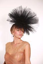New Large Black Millinery net / tulle Fascinate Fascinator Hat - wedding /races