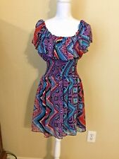 Date Night Twenty One Chiffon Ruffled Multi Colored Sleeveless Dress Size Large