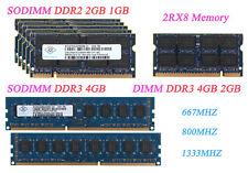 Lote Nanya 4 GB 2 GB 1 GB PC2 5300 6400 DDR2 667 800 DDR3 de memoria RAM para computadora portátil 1333 MHz