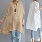 ZANZEA Women Summer Short Sleeve Irregular Cotton Tops T-shirt Blouse Plus Size