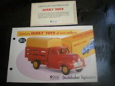 Fiche fascicule +Certificat Studebaker M tapissière Dinky Toys 25L Atlas