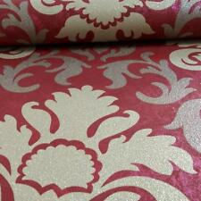 P & S Deluxe Wallpaper - Damask Red Gold Metallic - Textured Glitter - 13343-80