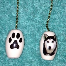 One Siberian Husky Dog Fan Pull With Paw Prints On The Back 1""