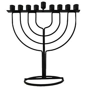 Black HANUKKAH Menorah Kosher Jewish Tradition Judaica Holiday Holyland gift