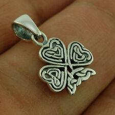 Pure Sterling Silver 925 Lucky Shamrock Irish Pendant & Black Lace Necklace