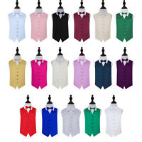 Boys Kids Children Waistcoat + Bow Tie Formal Wedding Christening Tuxedo Vest