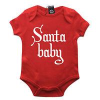 Santa Baby Funny Babygrow Christmas Gift Baby Grow Suit Present Newborn Idea B5