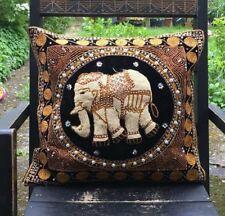 "Black Elephant Thai Embroidered Heavy Beaded Pillow Cushion Cover Home Decor 16"""