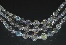 """Ab Faceted Glass Crystal Beads 17"""" Vintage Three Strand Aurora Borealis Necklace"""