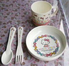 Sanrio Hello Kitty Small Dish Mini Bow Cup Spoon And Fork set For Baby Japan