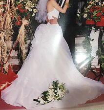 David's Bridal Wedding Gown, White, Halter, Beaded Bodice, Size S
