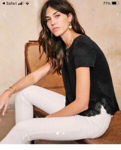 Sézane Carla black linen t-shirt size small