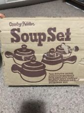 Vintage NOS Set of 4 Country Peddler 2 Tone Brown Onion Soup Bowls Crock w/ Lids