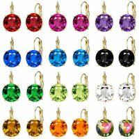 Fashion Rhinestone Austrian Crystal Zircon Earrings Women Stud Hoop Jewelry