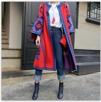 Women Coats Retro Printed Casual Mid Long Cardigan Ethnic Jacket Geometry Sbox