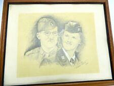 Framed German Army Portrait Pencil Drawing Mannheim Signed E. Fritsche 1940s WW2