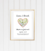 Christmas XMAS Engagement Gift Couple Print Personalised map Location Love A4