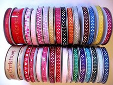 Patterned grosgrain ribbon 10mm 25mm craft sewing scrapbooking - lots of colours