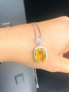 925 Sterling Silver Necklace For Women Natural Yellow Citrine Gifts Fine Jewelry