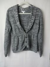 Croft & Barrow Sweater Shawl Collar 3 Button Front Gray Black White Large  #7452