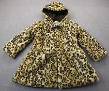 American Widgeon Girls Leopard Super Soft Faux-Fur Jacket Coat Hooded Sz 5 $116