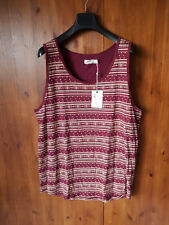 VOI JEANS SANDIAGO VEST TOP Burgundy Red Fairilse Print LARGE - NEW