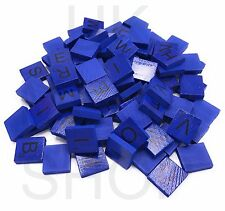Wooden Scrabble Coloured Tiles Full Size Set Letters for Art & Crafts Scrapbook Navy Blue 400