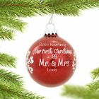 Personalized Our First C as Mr. & Mrs. Red Glitter Glass Ball C Ornament