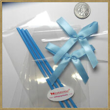 "50pcs x (6"" Plastic Lollipop Stick + Bag + Bows) for cake pops - Blue"