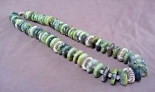 Native Navajo Serpentine Jade Disc beads & Silver Necklace by A Saltwater JN0275