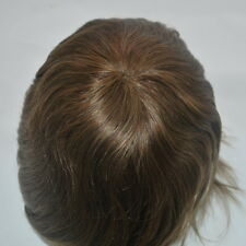 medium brown #4 human hair replacement for men mens toupee hairpiece hair system